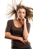 Woman With Wind in her Hair — Foto de Stock