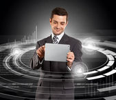 Businessman With Touch Pad — Stock Photo