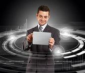 Empresario con pantalla táctil — Foto de Stock