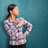 Asian Girl With Pointing Finger — Stock Photo