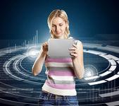 Mujer con pantalla táctil — Foto de Stock