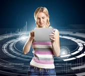 Woman With Touch Pad — Stock Photo