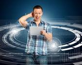 Uomo con touch pad — Foto Stock