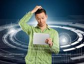 Homem com touch pad — Foto Stock