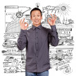 Asian Man Shows OK — Stock Photo