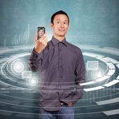 Aziatische man die een avatar — Stockfoto