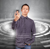 Asian Man Making An Avatar — Stock Photo