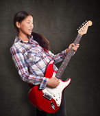 Asian Girl With Guitar — Stock Photo