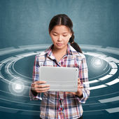 Asian Girl With Touch Pad — Stock Photo