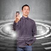 Hombre asiático hace un avatar — Foto de Stock