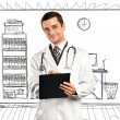 Doctor Man With Clipboard — Foto Stock