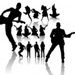 Dancing and Singing \&#039;s Silhouettes - Stock Vector