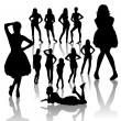 Fashion Woman Silhouettes — Stock Vector
