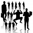 Business Man Silhouettes — Stockvektor