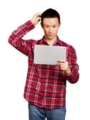 Asian Man With Touch Pad — Stock Photo