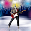 Stock Photo: Lamp Head Guitarist and Dance Party Flayer