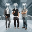 Lamp Head Human against Conceptual Background - Stock Photo