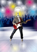 Lamp Head Guitarist and Dance Party Flayer — Stock Photo
