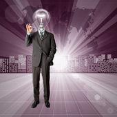 Leuchtenkopf, die menschlich konzeptionellen hintergrund — Stockfoto