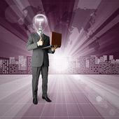 лампа головы человека против концептуальная история вопроса — Стоковое фото