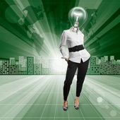 Lamp Head Human against Conceptual Background — Stock Photo