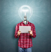 Lamp Head Man With Touch Pad — Stock Photo