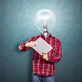 Lamp hoofd man met touchpad — Stockfoto