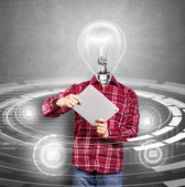 Uomo testa lampada con touch pad — Foto Stock