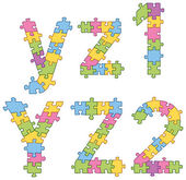Puzzle Jigsaw Alphabet Letters — Stock Vector