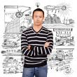 Asian Man In Striped Pullover — Stock Photo #22943180
