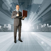 Business Man against Conceptual Background — Stock Photo