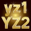 Golden Letters and Numbers Big and Small — Stock Vector