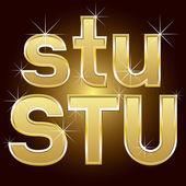 Letras douradas e números grandes e pequenos — Vetorial Stock
