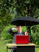 Businessman Working Outdoors — Foto de Stock