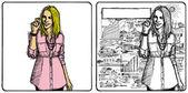 Mulher de negócios de desenho vetorial — Vetor de Stock