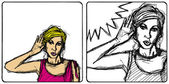 Femme de vecteur surprennent quelque chose — Vecteur