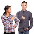 Stock Photo: Asian Man and Girl Showing Well Done