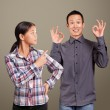 Asian Man and Girl Showing OK — Stock Photo