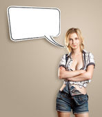 Woman With Breast and Speech Bubble — Stock Photo
