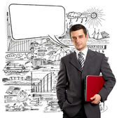 Business Man With Speech Bubble — Stock Photo