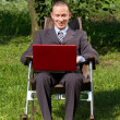 Businessman Working Outdoors — Stockfoto