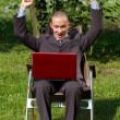 Businessman Working Outdoors — Stock Photo
