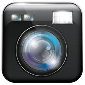 App Icon with Camera Lens and Flash Light — Stock Vector