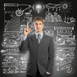 Idea Concept businessman in suit — Stock Photo #26599067