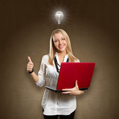 Idea Concept female with laptop shows well done — Stock Photo