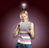 Idea Concept Businesswoman With Touch Pad — Stock Photo
