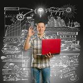 Idea Concept asian male with laptop in his hands shows OK — Stock Photo