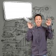 Asian Man Shows OK with Speech Bubble — Stock Photo #26863793