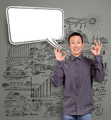Asian Man Shows OK with Speech Bubble — Stock Photo