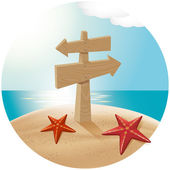Guidepost At The Sea Beach — 图库矢量图片
